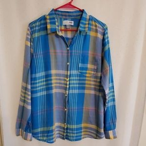Old Navy | Sheer Plaid Button Down
